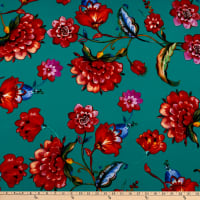 Telio Picasso Rayon Poplin Floral Teal