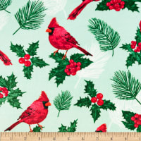 Exclusive Shannon Studio Digital Minky Cuddle Pine & Holly Cardinal