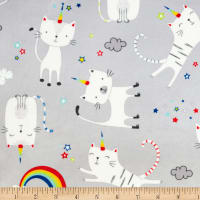 Exclusive Shannon Studio Digital Minky Cuddle Caticorn Steel