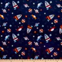 Exclusive Shannon Studio Digital Minky Cuddle Space Craft Navy