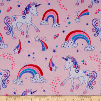 Exclusive Shannon Robert Kaufman Digital Minky Cuddle Lil' Unicorn Pink