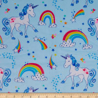 Exclusive Shannon Robert Kaufman Digital Minky Cuddle Lil' Unicorn Blue