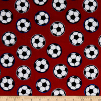 Exclusive Shannon Studio Digital Minky Cuddle Soccer Scarlet