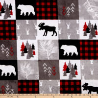 Shannon Studio Minky Cuddle Cabin Quilt Scarlet