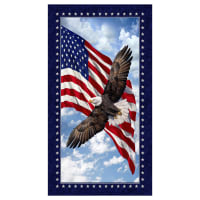 "Timeless Treasures Land Of The Free 24"" Patriotic Eagle Panel Multi"