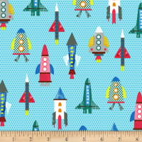 Timeless Treasures Science & Space Patterned Rockets Blue