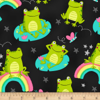 Timeless Treasures Lily Pad Lounging Frogs Black