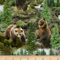 Timeless Treasures Digital Nature Lover Wild Grizzly Bears Multi