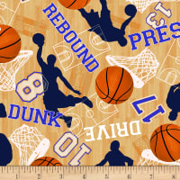 Timeless Treasures Score! Basketball Motifs Tan