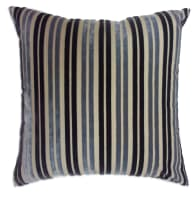 "Europatex 18"" x 18"" Striped Cut Velvet  Pillow Indigo/Silver"