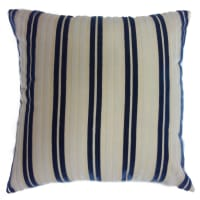 "Europatex 18"" x 18"" Striped Cut Velvet  Pillow Navy/White"