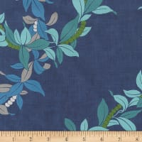 Kaufman Ecovero Aloha Prints Vines Navy