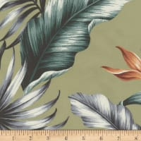 Kaufman Ecovero Aloha Prints Bird of Paradise Flower Sage