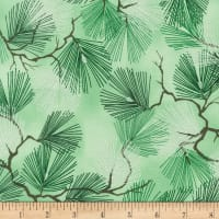 Kaufman A Walk on the Path Metallic Pine Branches Green