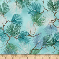 Kaufman A Walk on the Path Metallic Pine Branches Teal