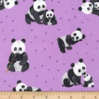 Kaufman Cuddly Crew Flannel Purple Panda