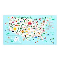 "Kaufman State to State Map 24"" Panel Bright"