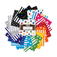 Kaufman Charm Squares Dot and Stripe Delights Multi 42pcs