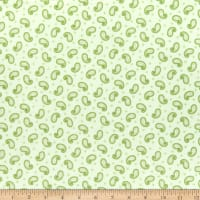 Henry Glass Flannel A Peaceful Garden Paisley Green
