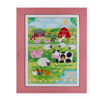 "Henry Glass Best Friends Farm Farm Animal Banner 36"" Panel Red"