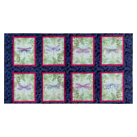 "Henry Glass Dragonfly Garden Dragonfly Blocks 24"" Panel Royal"