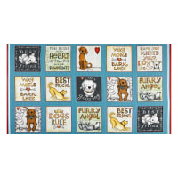 "Henry Glass All You Need Is Love & A Dog Blocks 24"" Panel Blue"