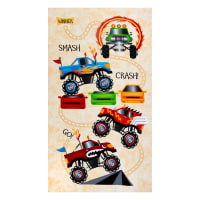 "Henry Glass Monster Trucks Banner 24"" Panel Cream"