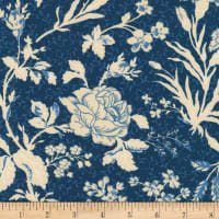 Kaufman Chesterfield Large Floral Blue