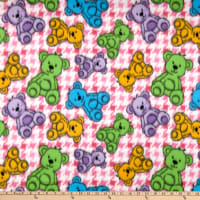 Polar Fleece Houndstooth Bear Pink