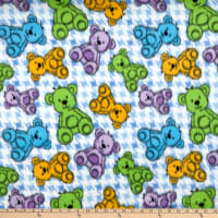 Polar Fleece Houndstooth Bear Blue