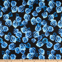 Fabric Merchants Swimwear Nylon Spandex Roses Black/Blue