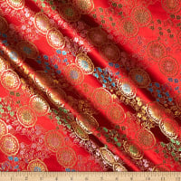 Fabric Merchants Chinese Brocade Mini Floral Medallion Red