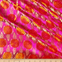 Fabric Merchants Chinese Brocade Medallion Fuchsia/Orange