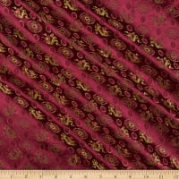Fabric Merchants Chinese Brocade Dragon Medallion Wine