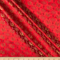 Fabric Merchants Chinese Brocade Dragon Medallion Red