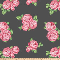 "Bohemian Rose Antipill Fleece 60"" Grey"