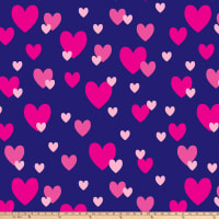 "Raining Hearts Blizzard Fleece 60"" Pink/Navy"