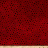 Maywood Studio Woolies Flannel Polka Dots Deep Red