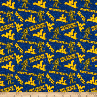 NCAA West Virginia Mountaineers Tone on Tone Cotton Multi