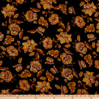 Fabric Merchants Rayon Challis Bohemian Floral Black/Gold