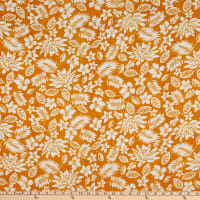 Fabric Merchants Rayon Challis Tropical Floral Mustard/Ivory