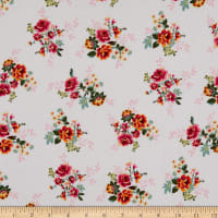 Fabric Merchants Rayon Challis Mini Floral Bouquet Ivory/Pink