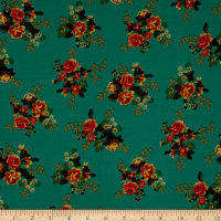 Fabric Merchants Rayon Challis Mini Floral Bouquet Green/Red