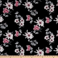 Fabric Merchants Rayon Challis Floral Black/Pink