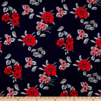 Fabric Merchants Rayon Challis Floral Navy/Coral