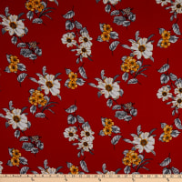 Fabric Merchants Rayon Challis Floral Red/Gold