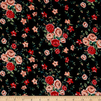 Fabric Merchants Rayon Challis Mini Floral Bouquet Black/Red