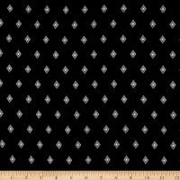 Fabric Merchants Rayon Challis Geo Diamond Black