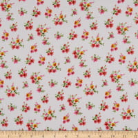 Fabric Merchants Rayon Challis Mini Floral Ivory/Pink