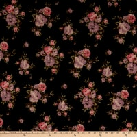 Fabric Merchants Techno Scuba Stretch Stretch Knit Rose Bouquet Black/Lilac